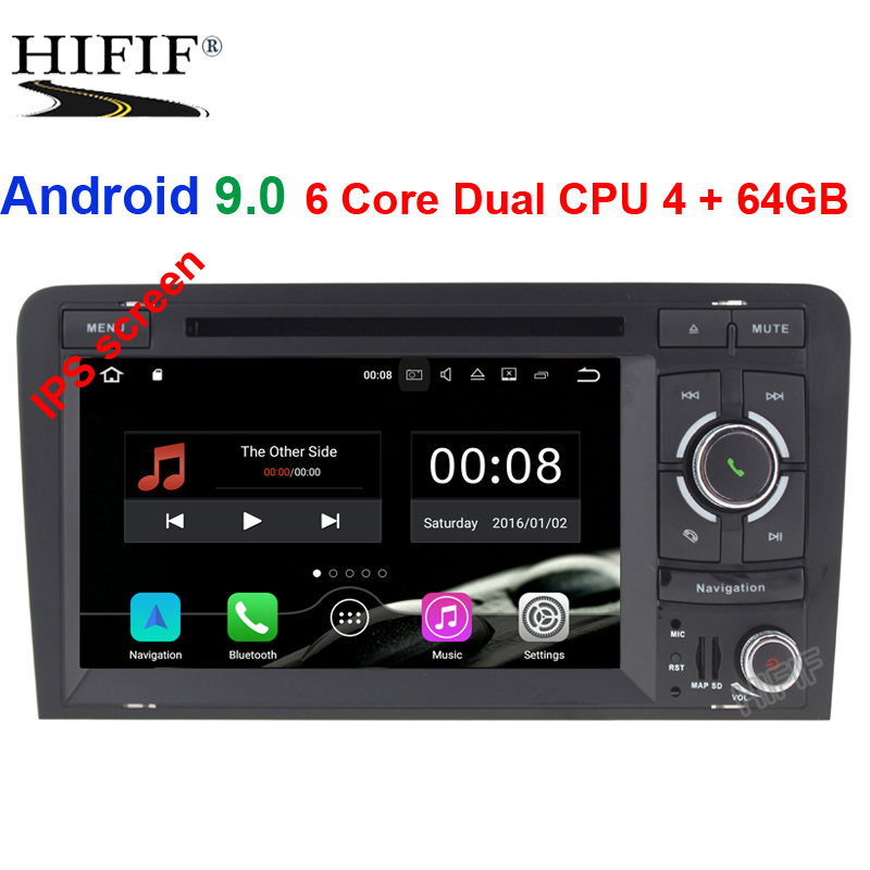 Ips 2 Din Rádio Auto Android 9.0 Para Audi A3 8 P/A3 8P1 3-porta Hatchback/ s3 8 P/Sportback RS3 Multimídia Player De Vídeo Do Carro GPS DVR