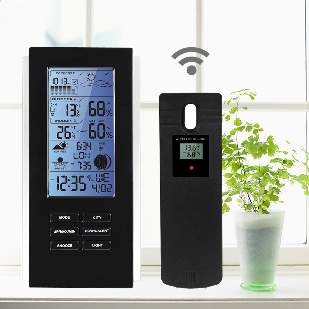 Blue LED Backlight Wireless Weather Station&Sensor <font><b>Temperature</b></font> Humidity Barometer RCC with Indoor Outdoor Thermometer Hygrometer