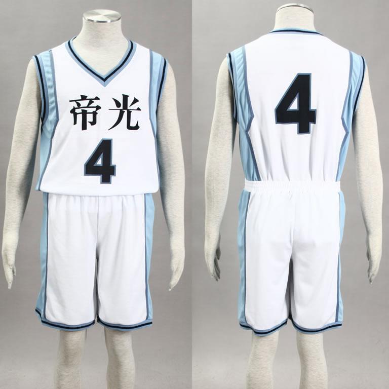 Kuroko no Basuke Basket TEIKO white school basketball suit mens uniforms boys sport clothes No.4 Akashi Seijuro cosplay costume