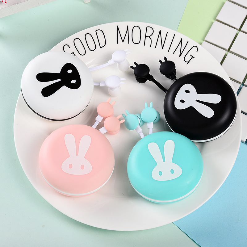 Cute Rabbit Macarons Earphones 3.5mm in-ear Stereo Earbuds with mic Earphone Case Box for iPhone Xiaomi Girls Kid MP3 Gift