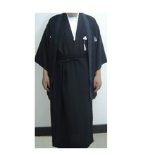 Black Three-piece Suit Cosplay apparel Embroider kimono Japanese Man's Traditional Yukata Costume Clothing one size(China)