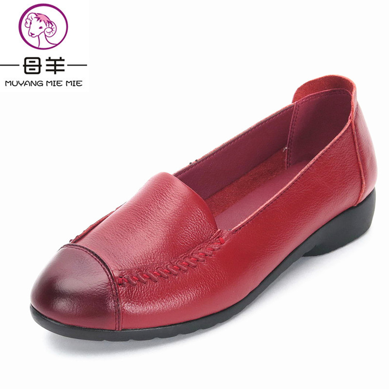 MUYANG MIE MIE Spring And Autumn Women Flats 2018 Fashion Genuine Leather Flat Shoes Woman Soft Casual Loafers Women Shoes 9 inch 800 480 screen car roof mount lcd color monitor flip down screen overhead multimedia video ceiling roof mount display