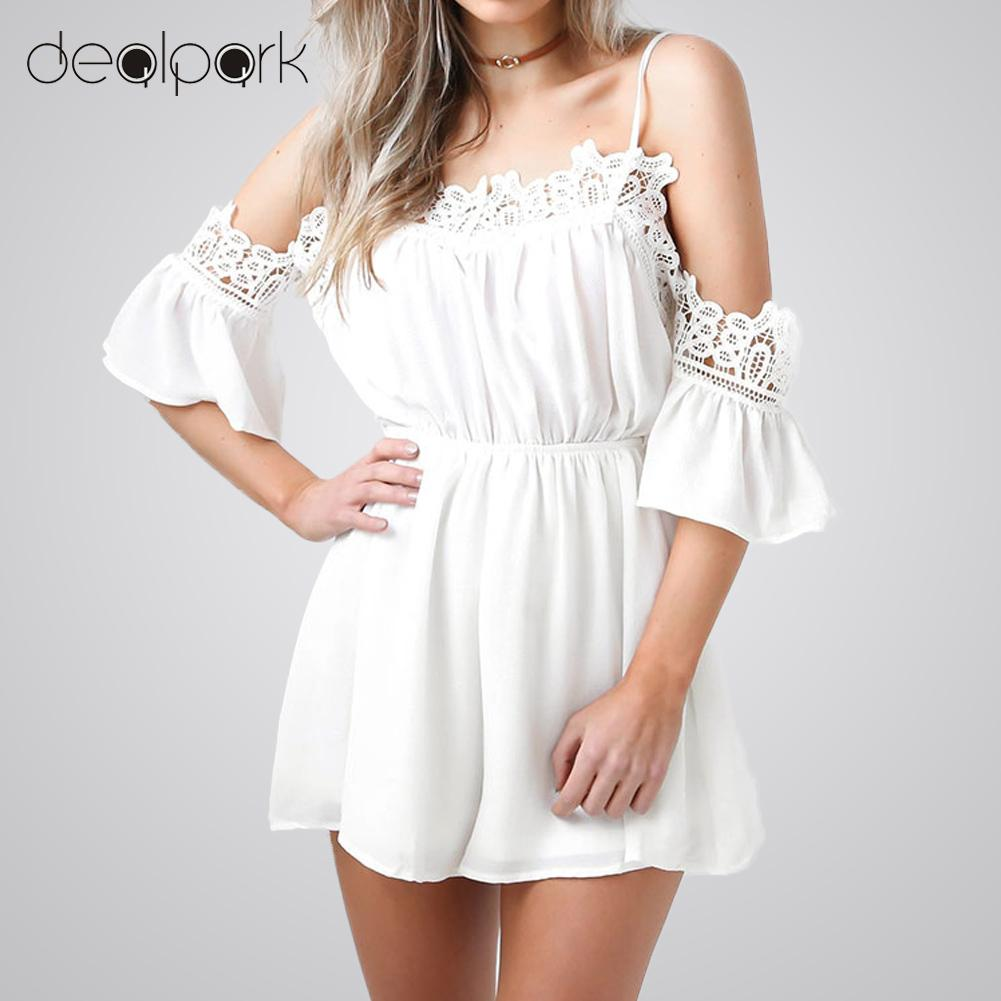 eeba6937b9 Aproms Casual White Crochet Lace Off Shoulder Jumpsuit Romper Summer Beach  Flare Sleeve Chiffon Playsuit Women Sexy ...