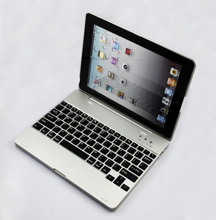 For Apple iPad 4 Woreless bluetooth Case Full Body Cover Aluminium Bluetooth Keyboard Build in 4000mah