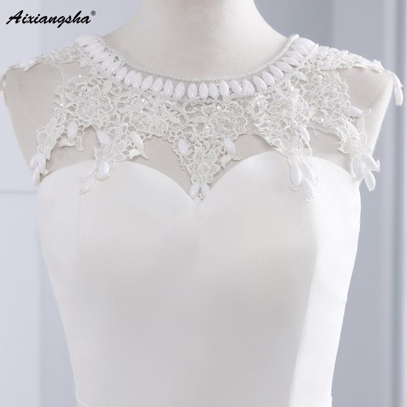 New Hot Selling Vestido de Noiva Casamento Robe De Mariage Scoop A-line lace Appliques Custom Made Wedding Dresses 5
