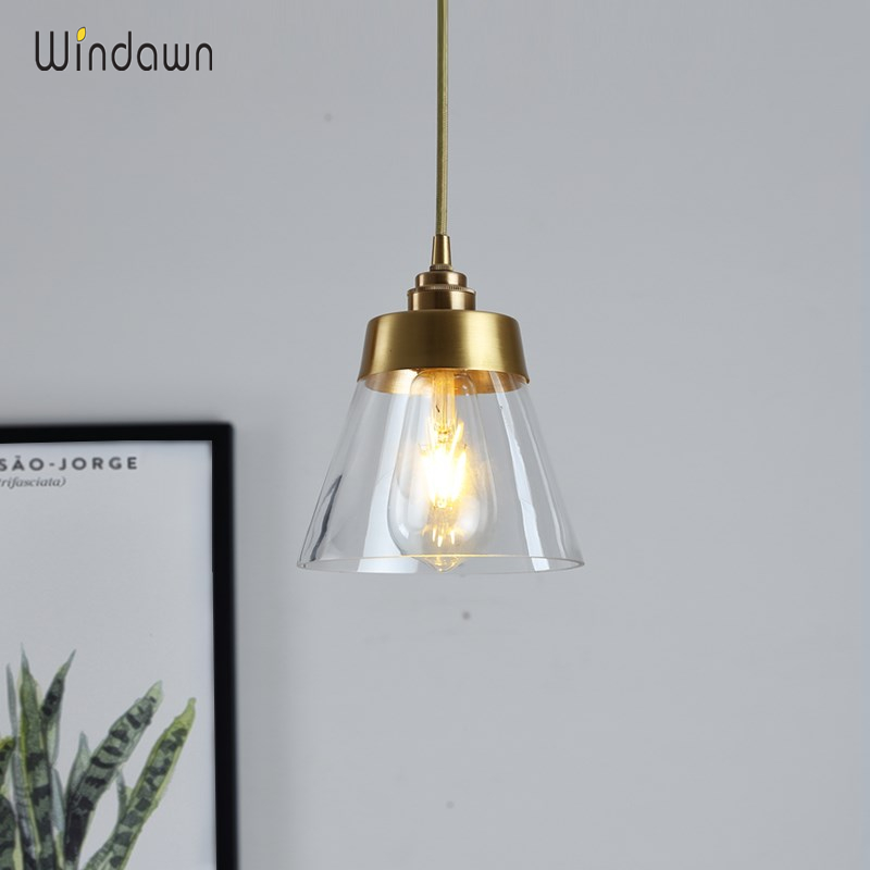 Windawn Nordic Pendant Lights Glass Ceiling Lamp Brass Hanging Lamp Classics Hotel Bedroom Living Room Office For Ceiling Lamp