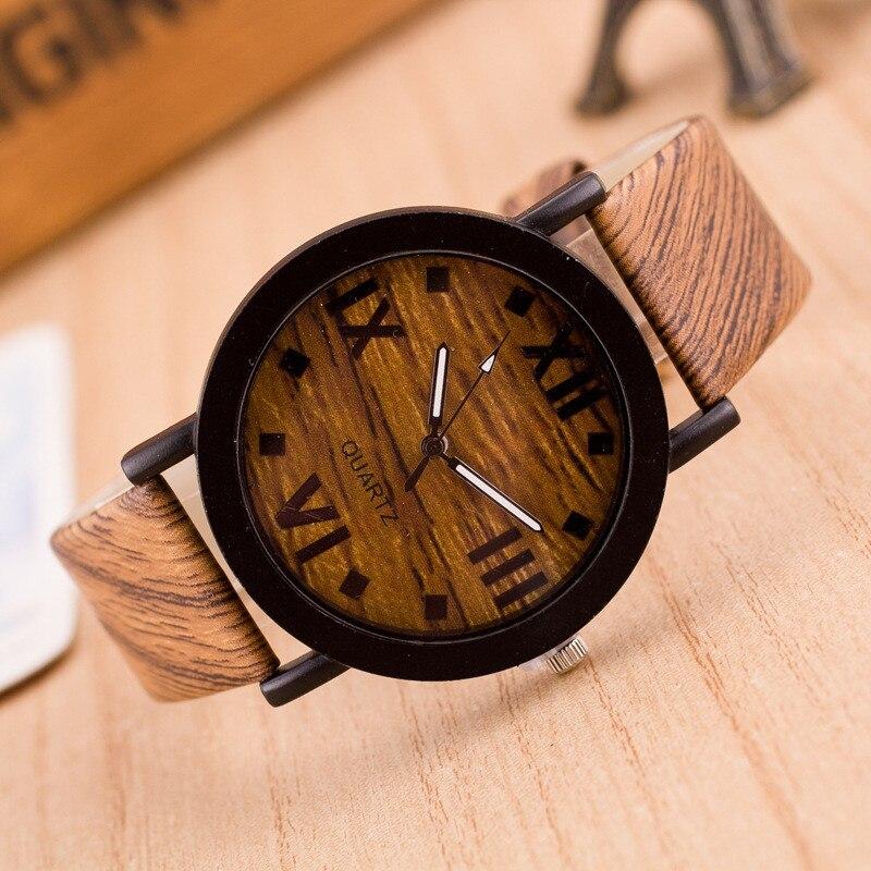 Women Ladies Watch Roman Numerals Wood Leather Band Quartz Wrist Watch Horloges Vrouwen Dames Horloges Relojes Mujer Montres
