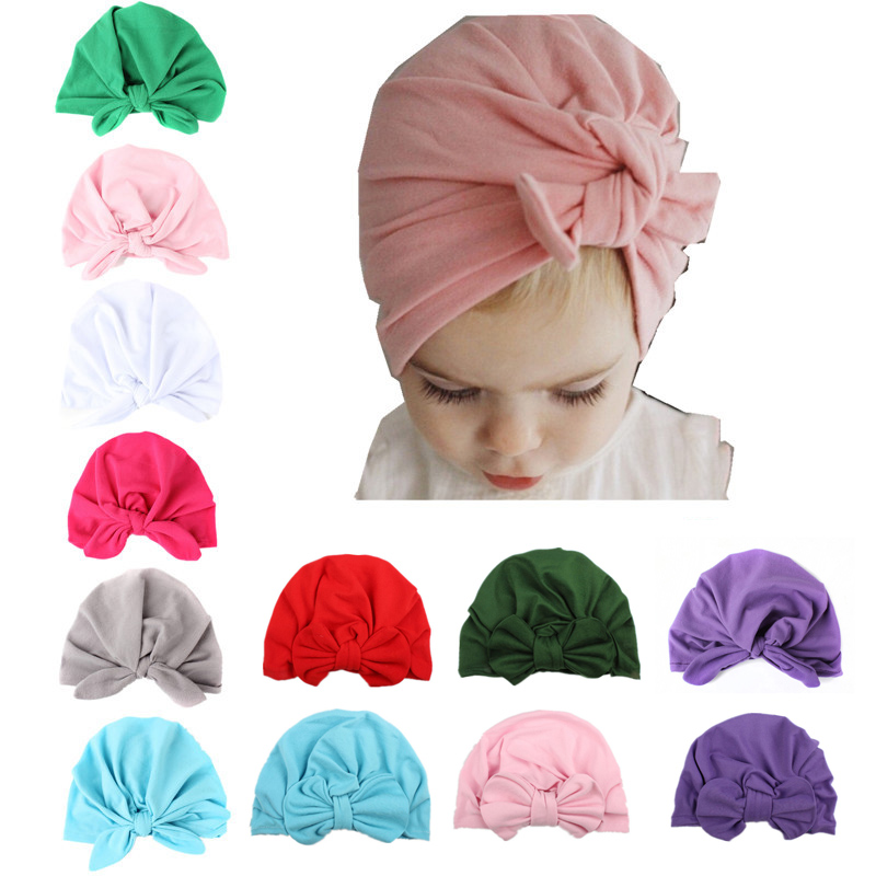 20 Colors Baby Beanie Girl Infant Hat Bow Product Rabbit Ears Knot Bow Tie Knotted Head Cap Children Collar Scarf