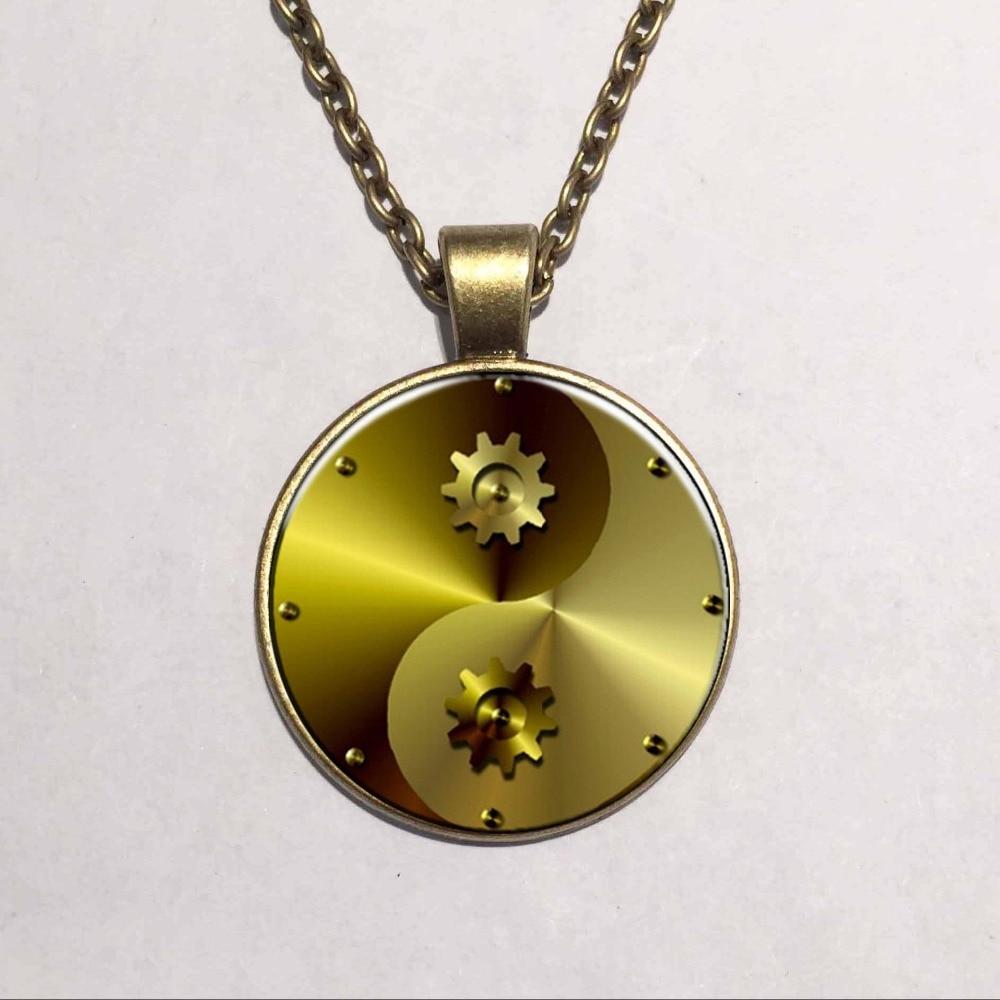 Steampunk Gear Tai Chi Antique Bronze Necklace Glass Cabochon Statement Silver Chain Pendant Necklace font b