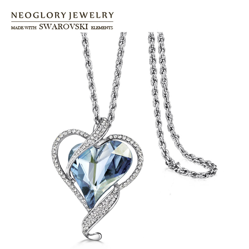 Neoglory Austria Crystal & Czech Rhinestone Pendant Long Sweater Necklace Romantic Love Heart Alloy Plated For Trendy Gift rhinestone metal heart bar layered pendant necklace