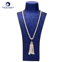 [YS] 6-7mm White Freshwater Pearl Long Sweater Necklace Jewelry Free shipping
