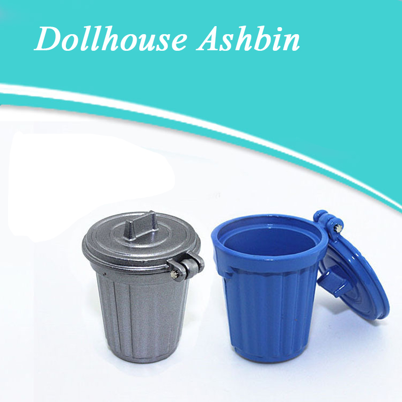 1:12 Dollhouse Miniature Mini Garbage Trash Can 1/12 Miniature Dollhouse Decoration Toys Garbage Bin For Dolls House Accessories