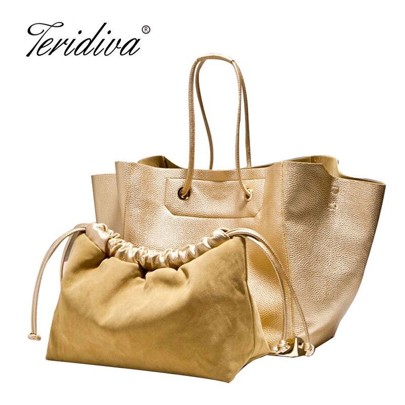 Teridiva Big Shoulder Bags for Woman Bags Fashion 2017 Women Large Tote Bag Gold Bag Ladies