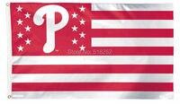 Philadelphia Phillies With Stripes And Stars Flag 3x5 FT MLB 150X90CM Banner 100D Polyester Custom Flag