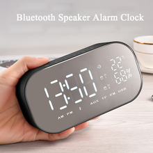 Smart Wireless Bluetooth Music Player Digital Alarm Clock FM Radio LED Display Temperature Reading Table Clocks