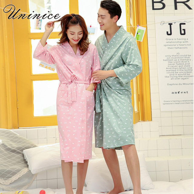 94e97e2532 Japanese Kimono Yukata Robes Pajamas Sets Cotton Bathrobe Pyjamas Japan  Loose Style Couples Dress Male Sleepwear Leisure Lovers
