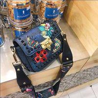 New Women Handbag Embroidered Square Diamond Rivets Wide Straps Shoulder Messenger Bag Female Small Chain Crossobdy Bag