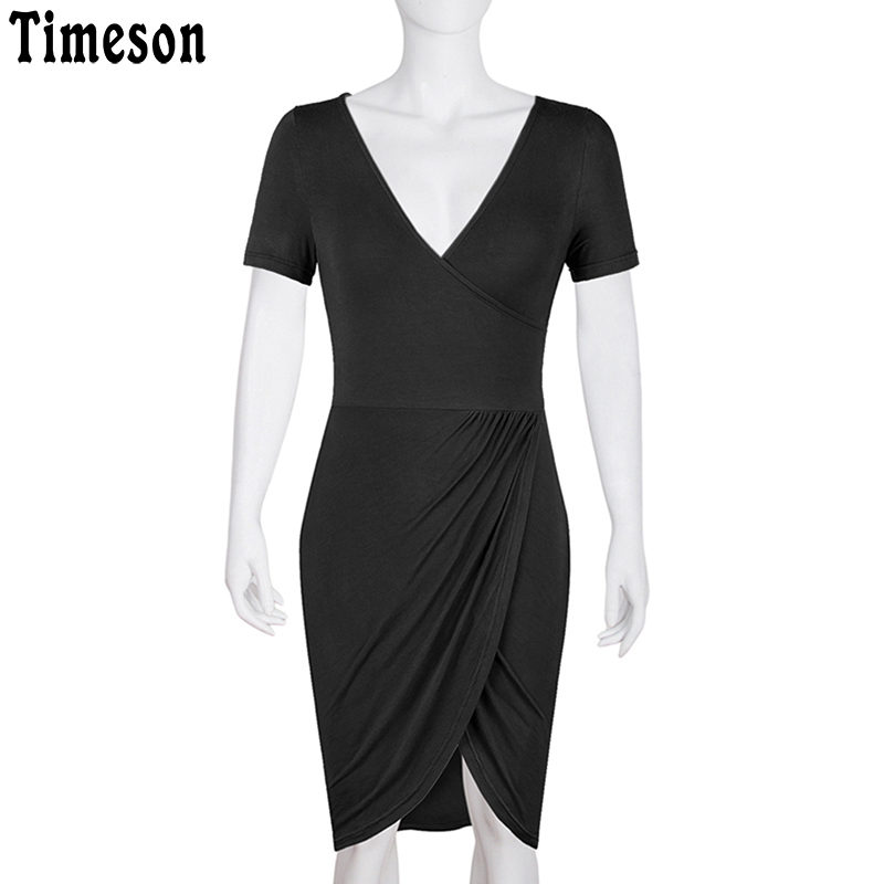 Timeson Deed V Neck Bodycon Midi Dress women 2018 Summer Split Hem Pencil Dresses Ladies Casual Short Sleeve Tunic Robe Femme