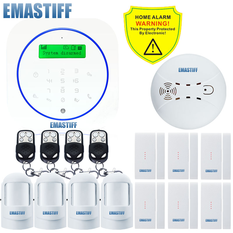 Free shipping.New English/Spanish/Italian/German/French/Chinese Wireless GSM Voice Home Security Burglar Android Alarm System wireless smoke fire detector for wireless for touch keypad panel wifi gsm home security burglar voice alarm system