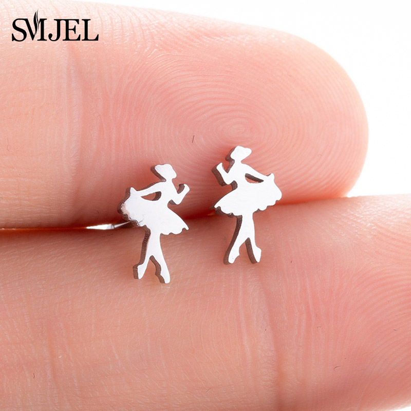 SMJEL Ballet Women Girl Stud Earrings Fashion Ballerina Women Earrings Stainless Steel Jewelry Accessories Femme Graduation Gift