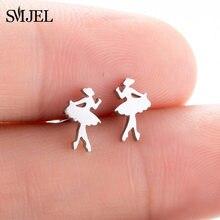 Smjel ballet feminino menina do parafuso prisioneiro brincos moda bailarina feminino brincos de aço inoxidável jóias acessórios femme graduação presente