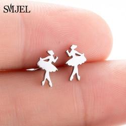 SMJEL Ballet Women Girl Stud Earrings Fashion Ballerina Women Earrings Stainless Steel Jewelry Accessories Femme Graduation Gift