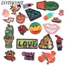Clothes Decoration Applique Embroidery Flower Patches Reversible Sequin Patch Letter Rose for Clothing