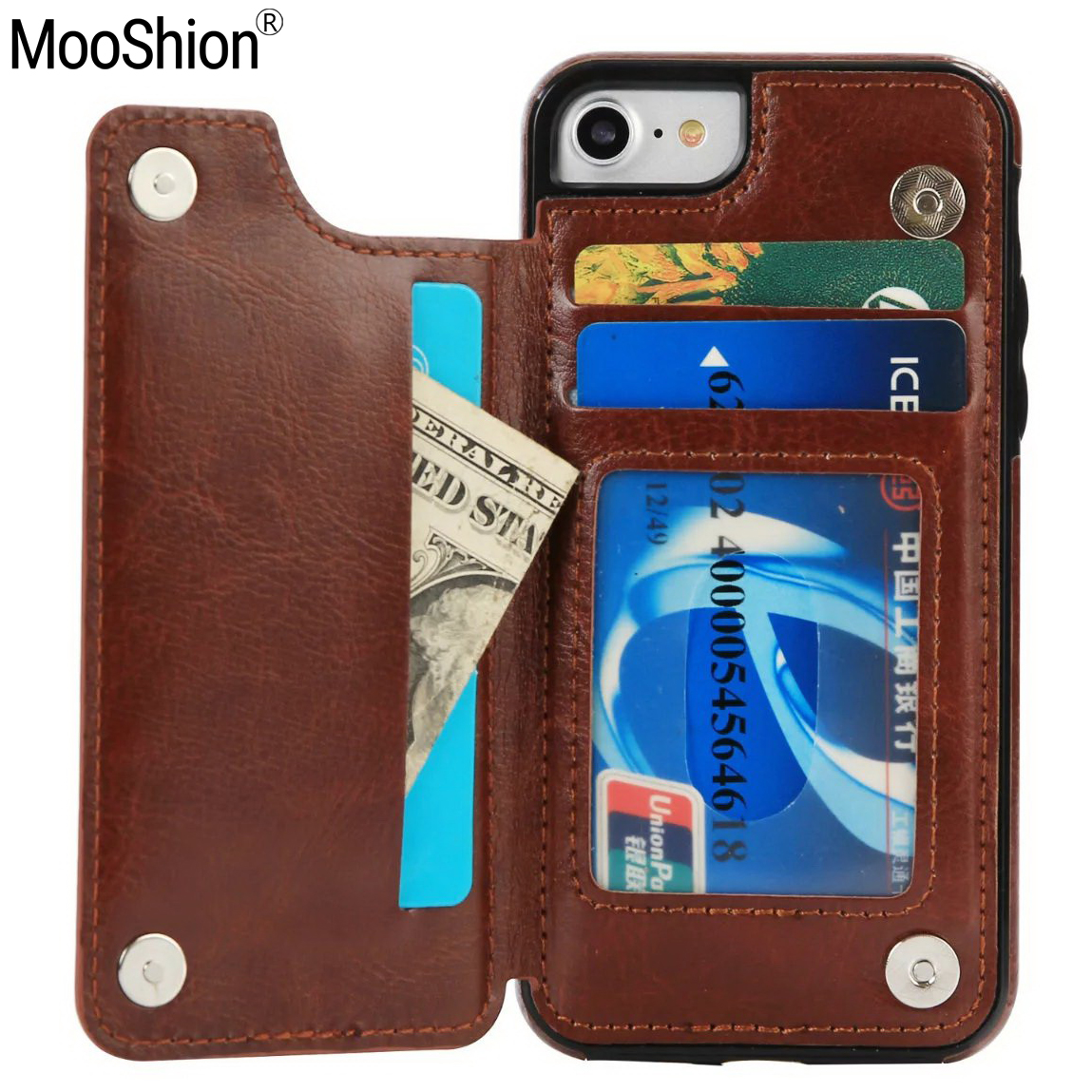 Mooshion Brand Phone Flip holder stand Luxury Leather Credit Card Pocket Wallet Pouch Cover for iPhone 7 7Plus 6s 6 6Plus