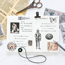 Black and white retro diary stickers washi paper retro european style stickers pack medieval scrapbook stickers