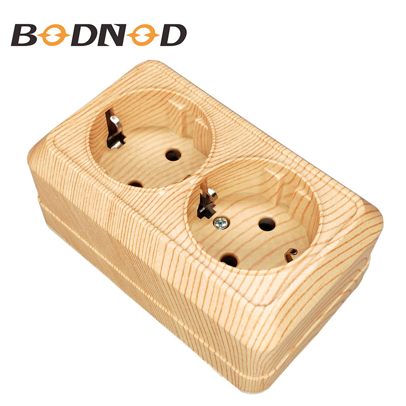 2018 New Pop Socket DOUBLE SCHUKO SOCKET  Wall Socket 250V 16A  Power Wall Mount Charger Adapter wood color legrand Schneider2018 New Pop Socket DOUBLE SCHUKO SOCKET  Wall Socket 250V 16A  Power Wall Mount Charger Adapter wood color legrand Schneider