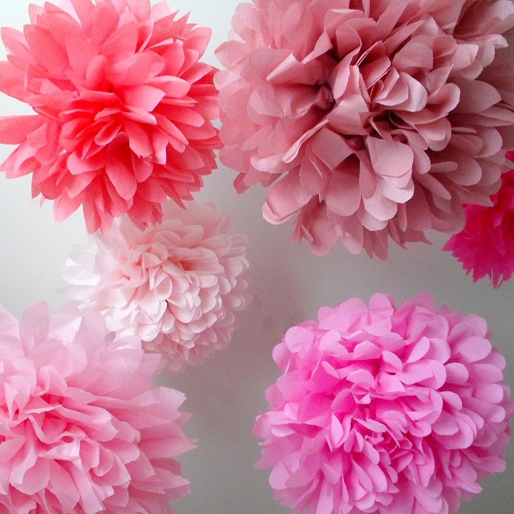6pcs 15cm 6inch Decorative Tissue Paper Pom Pom Flowers Wedding Decoration Home Birthday Baby Shower Event Party Supplies