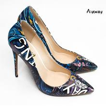 Aiyoway Women Shoes Ladies Pointed Toe High Heels Pumps Print Pattern Clubwear Party Shoes Slip On Big Size Pumps Thin Heels