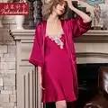 100% echte zijde Bruiloft kamerjas vrouwen Gown sets sexy kant zomer korte mouwen Noble elegantie zijdeachtig vrouwen jurk + gewaden