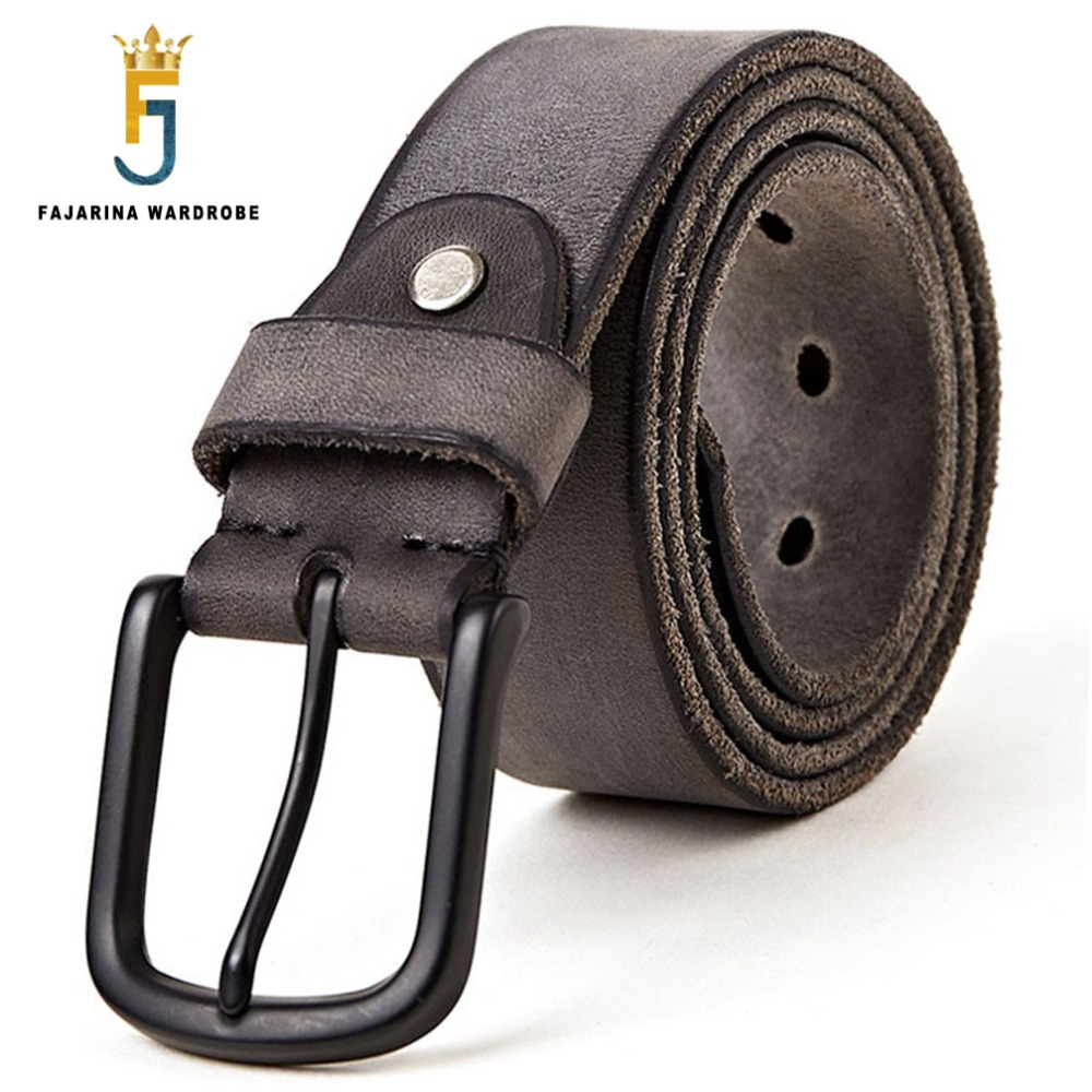 FAJARINA Men's Quality 100% Pure Genuine Leather Pin Buckle Belts For Men Leather Man Men's Retro 38mm Width Belt Male N17FJ285