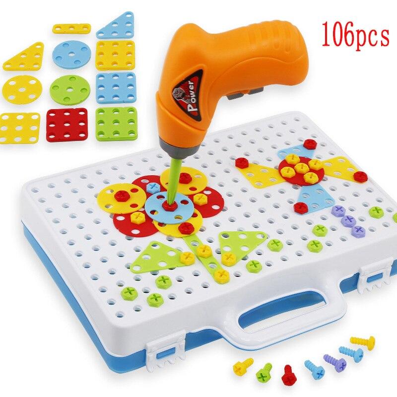 Дети сверло игрушки Творческий образования игрушки электродрель винты головоломки собранную мозаику Дизайн здание игрушки для мальчиков ... ...