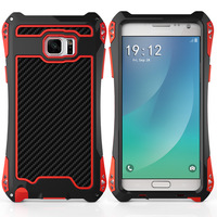 R JUST Luxury Heavy Duty Shockproof Carbon Fiber Metal Aluminum Armor Case For Samsung Galaxy S6
