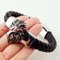 22cm *15mm Classic Silver Lion heads Bracelet Mens Genuine Black Leather Bracelets 316L Stainless Steel Bangle Jewelry Xmas Gift