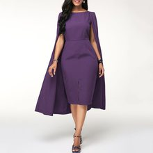 Elegant Summer Vintage Office Ladies African Women Midi Dresses Plus Size Party Green Bodycon Split Female Retro Dress