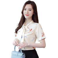 Tropical Print Ladies Blouses Office Evening Bow Ties Chiffon Blouse Women Flamingo Shirt Casacas Para Mujer Woman Tops D0091G