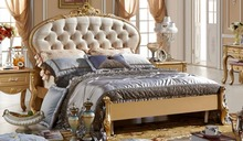 Gorgeous New Design Princess Bed Champagne Golden Luxury Soft Bed, Fresh Style Royal Court Carving King Queen Size Bed MB-A09