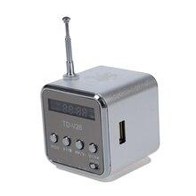 Td-v26 altavoz portátil mini digital con sd micro/tf/USB/FM-Plata-con 1 Cable USB y 1 Cable de Audio