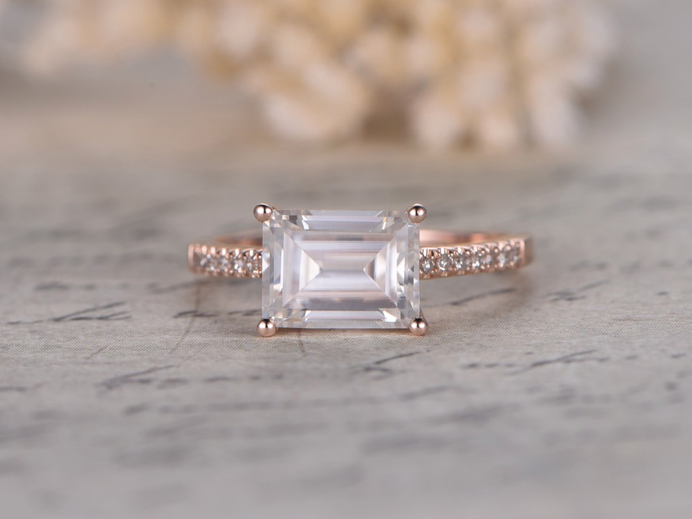 MYRAY 7x9mm Emerald Cut Moissanite 14k Rose Gold Diamond Thin Band Engagement Wedding Ring Anniversary Gift Women Rings Sets Man In From Jewelry