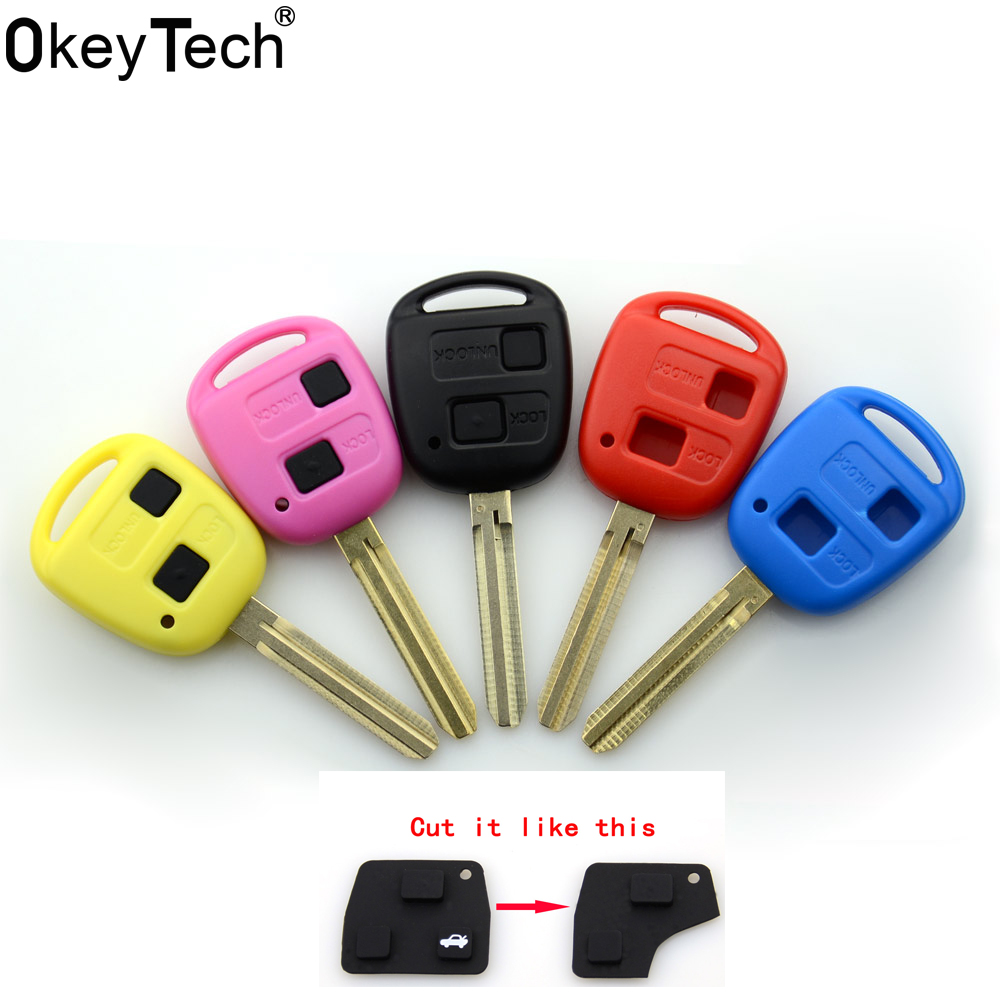 OkeyTech 2 button soft transponder car key shell case For Toyota Camry Corolla verso ave ...