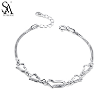 Sa silverage стерлингового серебра 925 пробы сердце звено цепи браслет для Для женщин Красивые ювелирные изделия Мода Стразы любовь браслет Femme