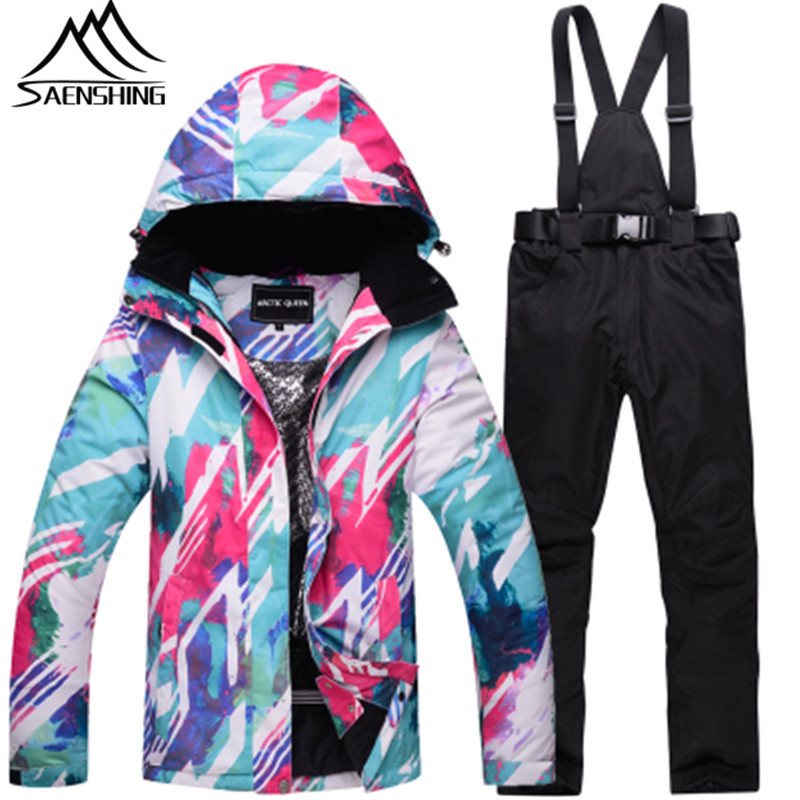 Women New Ski Suit Waterproof Colorful Mountain Skiing Suit Winter Outdoor Snowboarding Suits Warm Ski Jacket + Snow Pants S-3XL