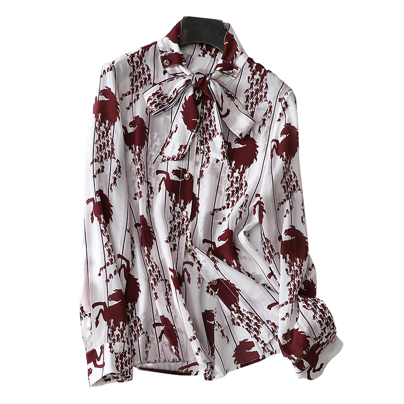 Bow Silk Blouse Shirt 2019 Spring Summer Long Sleeve Horse Printing Shirt Women's Fashion