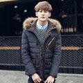 2016 Winter New Fur Collar Veste Duvet Canard Homme Slim Hooded Long Doudoune Plume De Canard Homme