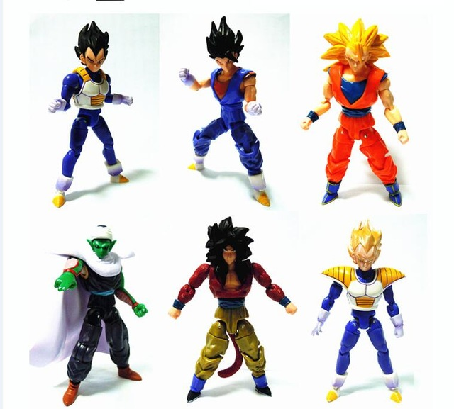 Intellective 6pcs/set 13cm Dragon Ball Dbz Anime Goku Vegeta Piccolo Gohan Super Saiyan Joint Movable Dragon Ball Z Action Figures Toy Toys & Hobbies
