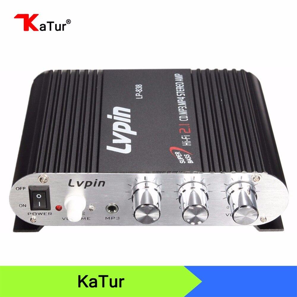 12V Hi-Fi Car Amplifier Subwoofer Music Player Aluminum Car Digital Stereo Amplifier 2.1 Channel Audio Player CD DVD MP3 Input