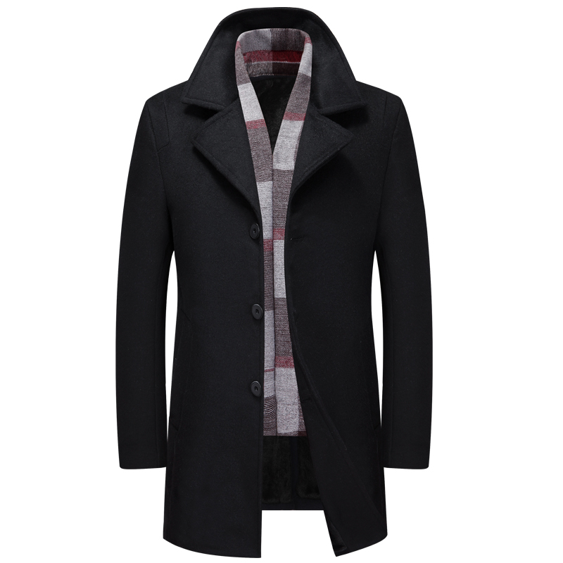 Thick Wool Blends Suit With Velvet Design Woolen Men's Casual Trench Overcoat Slim Fit Single Breasted Office Suit Jackets Coat